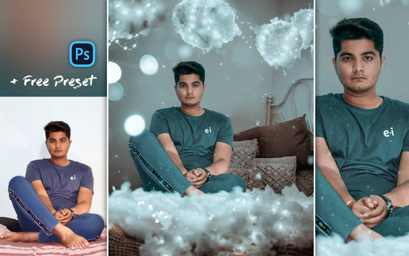 Brandon Woelfel Style Photo Editing in Photoshop cc | New Concept | Cotton Clouds with Fairylights Photo Manipulation