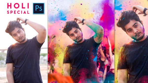 2020   Holi Special Realistic Photo Editing in Photoshop   Festival of Colors   Smoke Bomb   Ash-Vir Creations