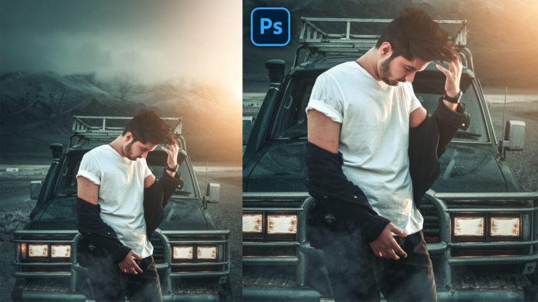 Moody Cinematic Realistic Photo Manipulation in Photoshop CC   Moody Mountain Photo Editing + Preset